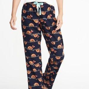 Old Navy Flannel  Sloth Christmas Pajama Pants